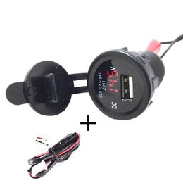 Wholesale waterproof motorcycle voltmeter - Wholesale- Car Motorcycle Waterproof 2.1A USB Charger w  Voltmeter Red Light