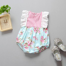 Wholesale Toddler Lace Ruffle Rompers - Summer 2017 Baby Girl Lace Ruffle Rompers Newborn Toddler Clothes Baby Girls Floral Striped Patchwork Romper Jumpsuit One-Piece Sunsuit New