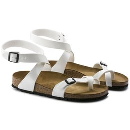Wholesale Comfortable Sandals Women - New Famous Brand Arizona Flat Heel Sandals Classcis Women Casual Comfortable Shoes Double Buckle Summer Top Quality Genuine Leather Slippers
