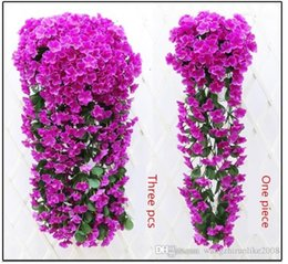 Wholesale Wholesale Fake Cakes - Simulation hydrangea violet hanging flower of bracketplant of cane wisteria series of silk flowers fake flowers wholesale wedding decoration