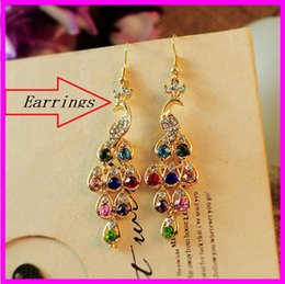 Wholesale Peacock Plates - Retro multicolor diamond peacock Earrings Bohemia wind alloy diamond earrings exquisite drop shaped female jewelry trade acc243