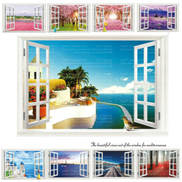 Wholesale plastic murals - 9 Styles 3020 Removable Beach Sea 3D Window Scenery Wall Sticker home Decor Decals Mural Decal Exotic Beach View Free Shipping