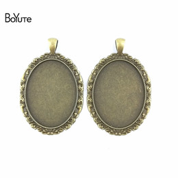 Wholesale Oval Cabochon Settings Silver - BoYuTe (20 Pieces Lot) 40*30MM Antiqued Bronze Silver Necklace Pendant Setting Oval Cabochon Cameo Base Tray Bezel Blank jewelry Making