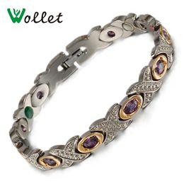 Wholesale Tourmaline Jewelry For Women - Wollet Jewelry Fashion Austrian Crystal Tourmaline Germanium Magnetic Luxury Wedding Bracelets Pure Titanium Bracelets for Women