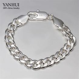 Wholesale Sterling Silver S925 Hooks - Wholesale-YANHUI Brand Fine Jewelry 100% 925 Sterling Silver Bracelet For Men Classic Charm Bracelet S925 Stamped Men's Bracelet HB051