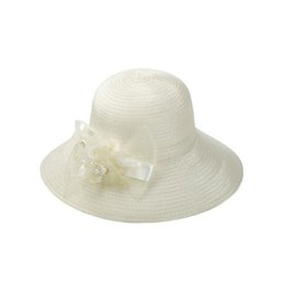 Wholesale Silk Trend Fashion - Free shipping New summer silk straw hat ladies trend big side sunscreen sun hat pearl flower hat DMB028
