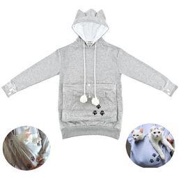 Plus Größe S-XXXL Fleece 2017 New Womens Mewgaroo Haustier Halter Katze Eared Känguru-Beutel Sweatshirt Hoodie von Fabrikanten