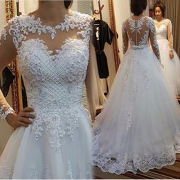 Wholesale Weddings Dresses China - Sexy See Through Wedding Dresses 2017 Vestido De Noiva Merry Boat Neck Pearls Lace Custom Made China Spring Cheap Bridal Gowns