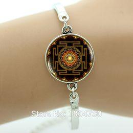 Wholesale India Charms - Wholesale- Sacred geometry jewelry India Mandala bracelet Yoga bracelet Sri yantra Spiritual silver bracelet Buddhist women jewelry MA23