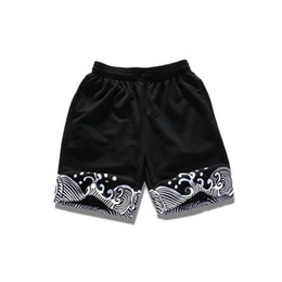 Wholesale White Cotton Material Wholesale - Wholesale- Spindrift Printed Elastic Waist Mens Shorts 2017 Summer Terry Material Casual Shorts Men Cotton Black White Blue