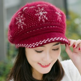 Wholesale Cashmere Hat Sale Women - Wholesale-Fashion Snowflake Women Rabbit Fur Beret Hat Fall Winter Female Warm Knitted Cashmere Wool Stretched Casual Visor Caps Hot Sale