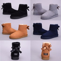 Wholesale Suede Sheepskin Ankle Boots - 2017 New Australia Classic snow Boots High Quality Cheap WGG women winter boots real leather Bailey Bowknot women's bailey bow snow boots