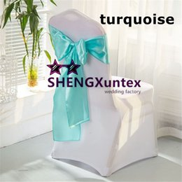 Wholesale Turquoise Chair Bows - Top Sale 100pcs White Lycra Spandex Chair Cover And 100pcs Turquoise Color Satin Chair Sahs \ Chair Bow