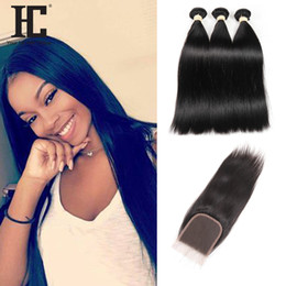 Wholesale Synthetic Hair Extensions Wavy - 2017 Hot Selling Straight Human Hair Bundles with Lace Closure 3pcs Brazilian Virgin Hair with Closure Wet And Wavy Human Hair Extensions