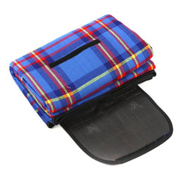 Wholesale Camping Rugs - Wholesale- New Sale 200x150cm Waterproof Rug Blanket Outdoor Beach Camping Picnic Mat Plaid Blue