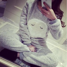 Wholesale Thickening Coral Fleece - Wholesale- Women Pajama coral fleece pajamas women plus sizes thickening sheep leisure wear suit paragraph warm flannel pijamas mujer