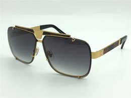 Wholesale Metal Brand Plate - new men brand sunglasses leather frame gold plated goggles style metal design vintage sunglasses 81060 UV400 lens top quality