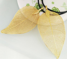 Wholesale Wholesale Real Leaf Pendants - 2017 Hot sale real leaves gilded Golden leaves Pendant necklace Wax rope Chain The one and only Gold Leaf clavicle necklaces