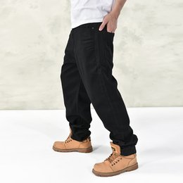 Wholesale Black Jeans Men Bootcut - Wholesale-Brand 2016 New Fashion Men Baggy Jeans Big Size Mens Hip Hop Jeans Long Skateboard Relaxed Fit Jeans For Men Harem Black 44 46