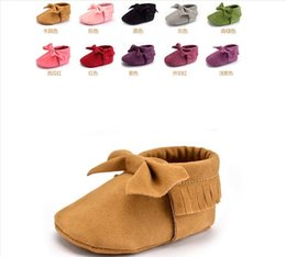 Wholesale Infants Canvas - Newborn Baby Moccasins Soft Moccs Baby Shoes girls fringe first walker Anti-slip pu Leather princess Infant boys footwear