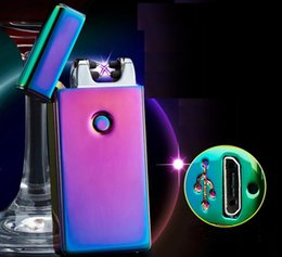 Wholesale Cigarette Rechargeable Torch - new Double ARC Pulse Flameless Plasma Torch Dual Arc Electric USB Lighter Rechargeable Plasma Windproof Flameless Cigarette lighter