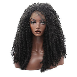 Wholesale premium lace front - 2017 new Women's Afro Bouncy Thick Density Kinky Curly Front Lace Wig Imported Premium Synthetic Hair Wigs For Black Women Black Color