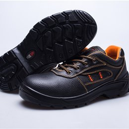 Wholesale Anti Puncture - Top Quanlity Work Shoes Cowhide Men Boots Safety Shoes Steel Toe Shoes Deodorant Shock Absorption Anti Smashing Anti Puncture Shoe Rubber