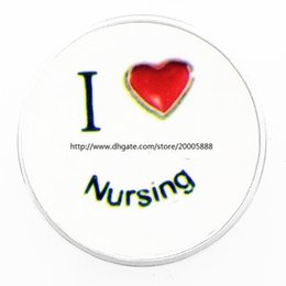 Wholesale Wholesale Nurse Gifts - fashion I love nursing 18 mm glass print ginger snap button jewelry luxurious alloy bottom fit 18 mm snaps bracelets best gifts