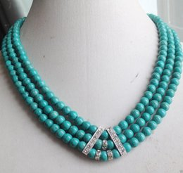 Wholesale Tibetan Turquoise Pendant - Pearls and jade Tibetan silver jewelry >3Rows 6mm Green Turquoise Round beads Gemstones CZ Necklace