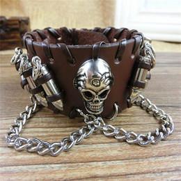 breites armband schnappt Rabatt Reine handgemachte 23 cm * 3,5 cm Punk Echtem Leder Schädel + Kugel Charme Armbänder Original Breite Druckknopf Hip Hop Armband