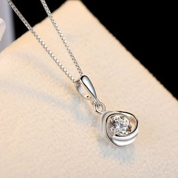 Wholesale Silk Necklace Clasp - 925 sterling silver necklace female Japan and South Korea temperament small fresh lucky rose pendant chain clasp silk sterling silver flower