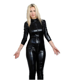 Wholesale Latex Clothes Xxl - Women Clothing Black Latex Erotic Catsuit Zip Front Faux Leather Sexy Costume Bodycon Jumpsuit Clubwear Bodysuit W7904