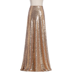 Wholesale Maxi Formal Dress - Honey Qiao Womens Maxi Wedding Skirts 2017 New Gold Sequin Party Skirts Holiday Formal Skirts Custom Made