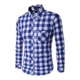 Wholesale Brushed Twill - Wholesale- Man Dress Plaid Shirts Brushed Fashion Casual Slim Fit Long Sleeves Youth Warm Soft Dress Shirt Tops Winter 1056