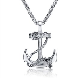 Wholesale Red Jewellery Accessories - Collier Ocean Anchor Necklace Men Jewelry Accessories Friendship Gift Pendants Necklaces Stainless Steel Chain Mens Jewellery