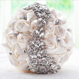 Wholesale Peals Crystals - 2017 Hot Sale Wedding Bridal Bouquets with Handmade Flowers Peals Crystal Rhinestone Rose Wedding Supplies Bride Holding Brooch Custom Made