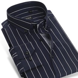 Wholesale Navy Striped Long Sleeve Dress - CAIZIYIJIA 2017 Men's Contrast Navy Blue white Striped Dress Shirts Cotton Business Slim-fit Long Sleeve Button-down Shirt