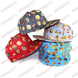 Wholesale Flat Hats Kids - children hats New cartoon QQ Emoji pattern caps kids cute Baseball cap flat along Parental hip hop Emoji pattern hats