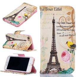 Capa de couro do iphone da torre eiffel on-line-Torre Eiffel Carteira De Couro Caso Para Iphone X 8 6 S 7 7 Plus Suporte Traseiro Titular do Cartão de Crédito Slot Phone Bags Casos