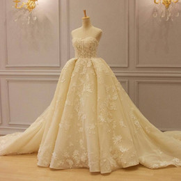 Wholesale Strapless Ball Gown Cathedral Train - Attractive Arabic Lace Ball Gown Wedding Dresses Strapless Neck Beaded Puffy Wedding Dress Appliques Tulle CathedraL Train Bridal Gowns