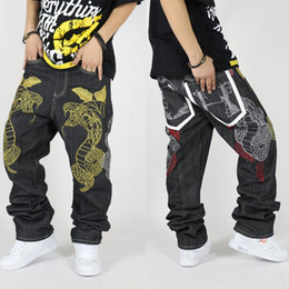 Wholesale Hiphop Fashion Stripe - Wholesale-Hiphop jeans male hot-selling loose denim pants personality snake embroidery straight long trousers for men