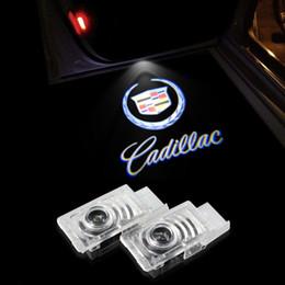 Wholesale car door logo light lamps - 2x Car Door Light Ghost Shadow Logo For Cadillac SRX XT5 ATS-L XTS CT6 Laser Projector Welcome Warming Lamp