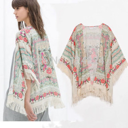 Wholesale Top Fringes - Wholesale- NEW! Fringe Floral SHAWL KIMONO JACKET Tops Cardigan Loose Tassels Shirt Blouse