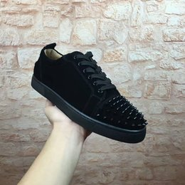 Wholesale Mens Casual Black Leather Boots - 2017Free Shipping New Mens Womens Black Suede with spikes Low Top EU Bottom Sneakers,Brand Flat Boots Casual Shoes Size 36-46