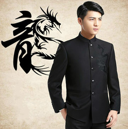 Wholesale Chinese Fashion Tunic - Wholesale- Chinese Dragon Embroidery Suit Jackets Chinoiserie Mandarin Collar Slim Fit Kung Fu Jackets 2017 New Fashion Tunic Suit