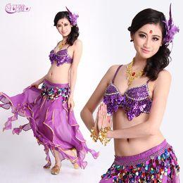 Wholesale Bellydance Dresses - Belly Dance Dress Grapes Bra + Belt + Skirt Women Belly Dancing Stage Wear Bellydance Costume Set Factory Direct
