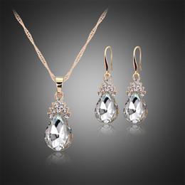 Wholesale Teardrop Rhinestone Necklace - Wedding Jewelry Sets For Brides Teardrop Stud Earrings Necklace Set Flower Pear CZ Diamond necklace earring Women's Day 162048