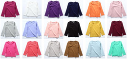 Wholesale Baby Tee Long Sleeve - Kid Tee Long Sleeves Baby T-shirt 100%Cotton Autumn Style 18 Colors Choice Mix Size per lot