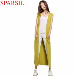 Wholesale Knitwear Sweater Cardigan Woman - Wholesale-Sparsil Women Autumn&Spring Knitted Cashmere Blend Long Cardigan With Pocket Fashion Split Style Sleeveless Knitwear Sweater