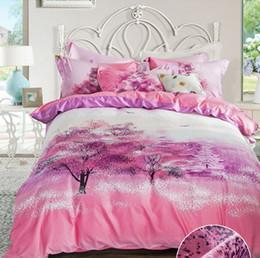 Wholesale Duvet Covers Cherry - Romantic cherry blossoms 3D 4pcs Bedding Set Bedclothes set QueenKing Size Duvet Cover+Bed Sheet+2 Pillowcases bed linings Home Textiles